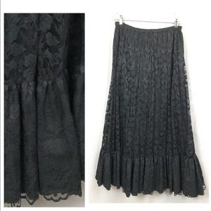 Vintage Black Lace Maxi Skirt - Ruffled